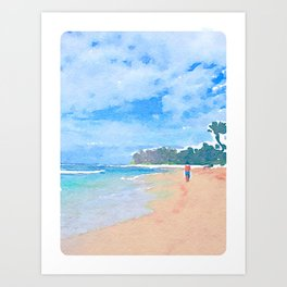 Wandering Down The Beach Art Print