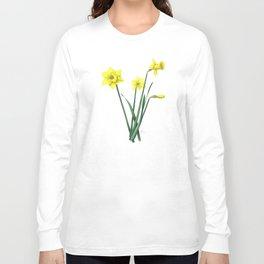 Yellow Daffodils Botanical Illustration Long Sleeve T-shirt