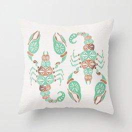 Scorpion – Mint & Rose Gold Throw Pillow