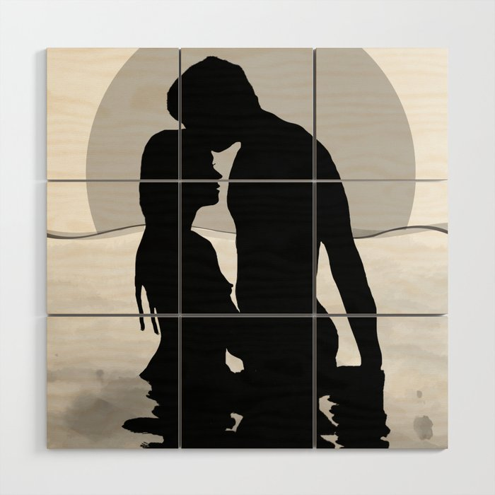 Lovers Black and White Wood Wall Art