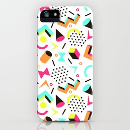 1980s Vintage Neon Skateboarding Jams Cool Dude Pattern iPhone Case