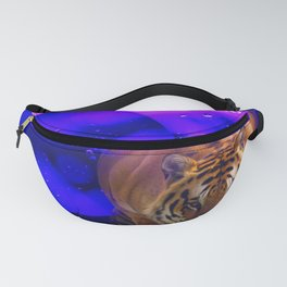 Tiger on the Prowl Purple Bubble Art Fanny Pack