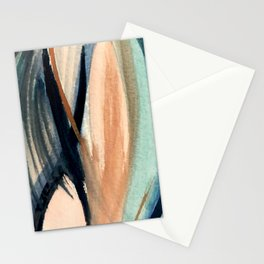 Waves - a pretty minimal watercolor abstract in blues, pinks, and browns Stationery Cards