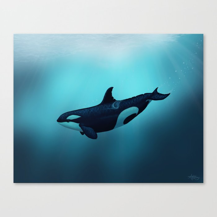 """""""Lost in Serenity"""" by Amber Marine ~ Orca / Killer Whale Art, (Copyright 2015) Canvas Print"""
