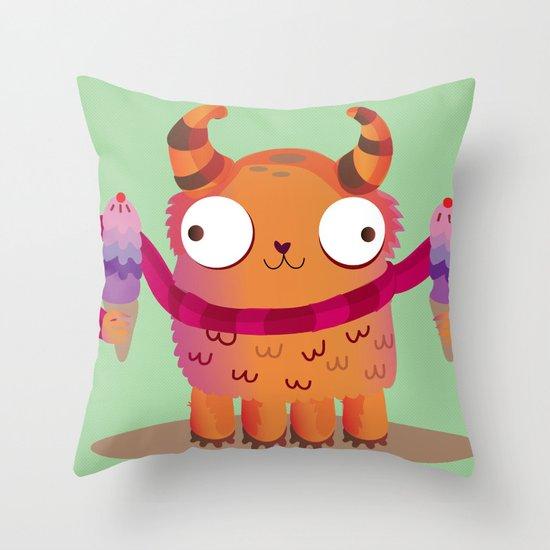 Icecream monster Throw Pillow