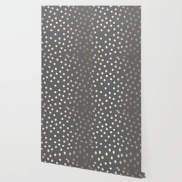 Simply Dots White Gold Sands on Storm Gray Wallpaper