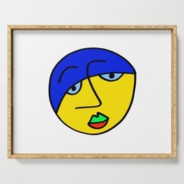 Colored Sad Man's Face Serving Tray
