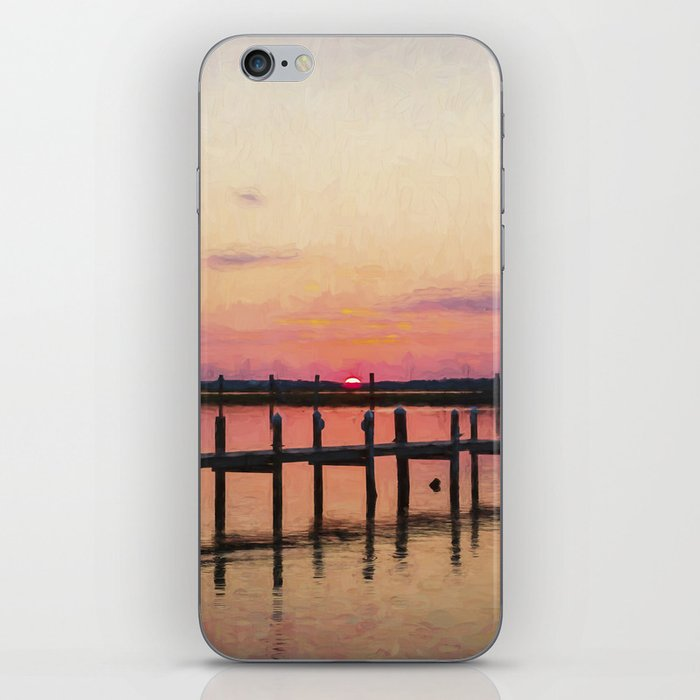 Sunset In Downtown Chincoteague II iPhone Skin