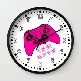 Video Game White & Pink Wall Clock