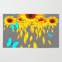 SURREAL BLUE BUTTERFLIES SUNFLOWER PETAL RAIN Rug