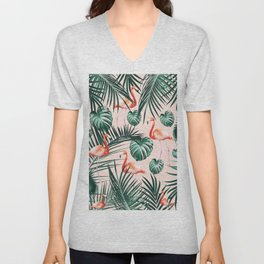 Tropical Flamingo Pattern #2 #tropical #decor #art #society6 Unisex V-Neck