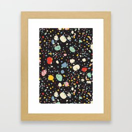 modern scandinavian multi-colour pebbles black Framed Art Print