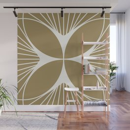 Diamond Series Floral Cross White on Gold Wall Mural