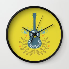 Fancy folk guitar Wall Clock