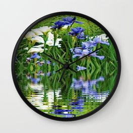 BLUE & WHITE IRIS WATER REFLECTION ART Wall Clock