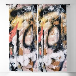 Lightning Soul: a vibrant colorful abstract acrylic, ink, and spray paint in gold, black, pink Blackout Curtain