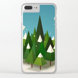 Winter geometric landscape with pines and snow Clear iPhone Case