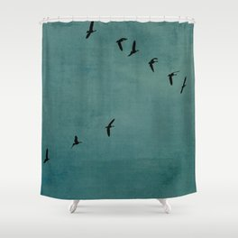 GEESE FLYING - TEAL Shower Curtain