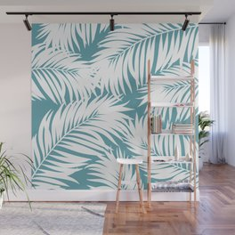 Palm Tree Fronds White on Soft Blue Hawaii Tropical Décor Wall Mural