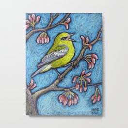 Blue Winged Warbler on Redbud Metal Print