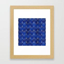 Hamsa Hand pattern -silver on blue glass Framed Art Print
