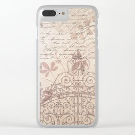 Vintage rustic ivory brown floral collage typography Clear iPhone Case