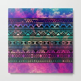 Colorful Geometric Aztec Tribal Pattern Metal Print
