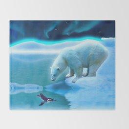 The Encounter - A Polar Bear & Penguin Fantasy Throw Blanket