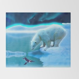 The Encounter - A Polar Bear & Penguin Fantasy Throw Blanket