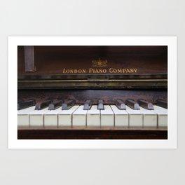 Piano keys Old antique vintage music instrument Art Print