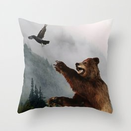 The Trickster - Raven & Grizzly Bear Art Print Throw Pillow