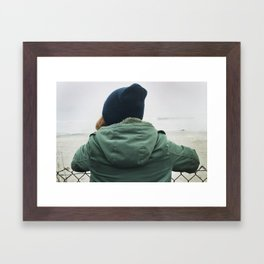 girl on beach. Framed Art Print