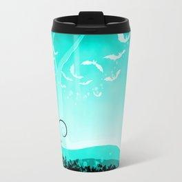 Dark Forest at Dawn in Aqua Travel Mug