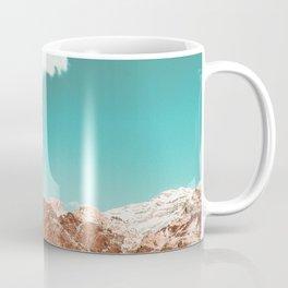 Vintage Red Rocks // Snow in the Mojave Desert Clouds Teal Sky Mountain Range Landscape Coffee Mug