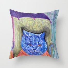 Blue Cat in the Rain Throw Pillow