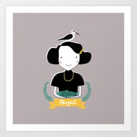 abigail larson Art Prints featuring Abigail by June Keser