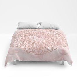 Misty pink marble rose gold mandala Comforters