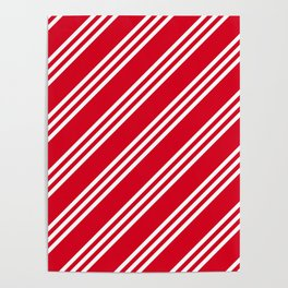Red and White Large Small Small Stripes Poster