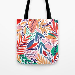 Modern abstract coral forest green floral illustration Tote Bag