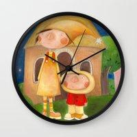 mom Wall Clocks featuring Mom by Gabriela Granados