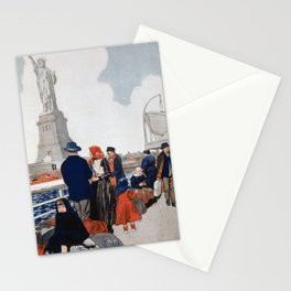 Vintage Immigrants & Statue of Liberty Illustration (1917) Stationery Cards