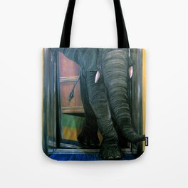 the elephant in the elevator Tote Bag