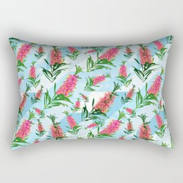 Beautiful Pink Australian Natives on Blue Geometric Background Rectangular Pillow