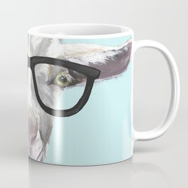 Goat with Glasses, Cute Farm Animal Coffee Mug