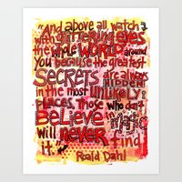 roald dahl Art Prints featuring Roald Dahl Magic by From Victory Road