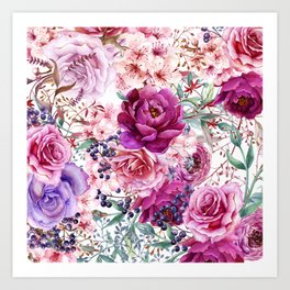 Roses and Peonies Collage Art Print