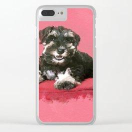 Miniature Schnauzer Puppy Watercolor Digital Art Clear iPhone Case