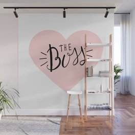 The Boss Pink Heart and Lettering Wall Mural