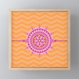 Mandala Belt Orange Zig Zag Pattern Framed Mini Art Print