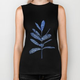 indigo ficus leaf watercolor Biker Tank